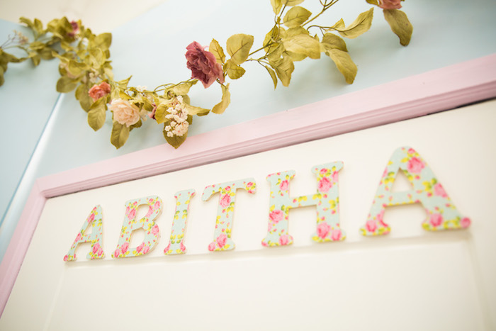 Floral letters from a Shabby Chic Little Bird Birthday Party on Kara's Party Ideas | KarasPartyIdeas.com (17)