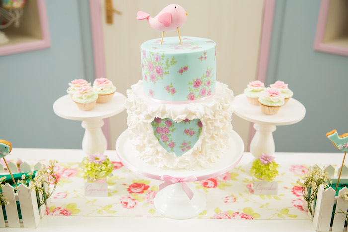 Floral heart cake from a Shabby Chic Little Bird Birthday Party on Kara's Party Ideas | KarasPartyIdeas.com (15)