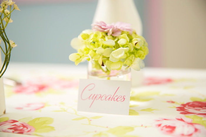 Fresh blooms + sweet label from a Shabby Chic Little Bird Birthday Party on Kara's Party Ideas | KarasPartyIdeas.com (14)