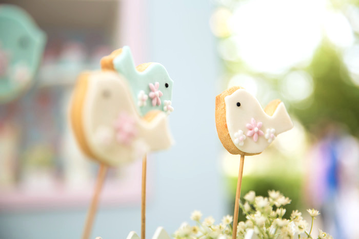 Bird cookie pops from a Shabby Chic Little Bird Birthday Party on Kara's Party Ideas | KarasPartyIdeas.com (10)