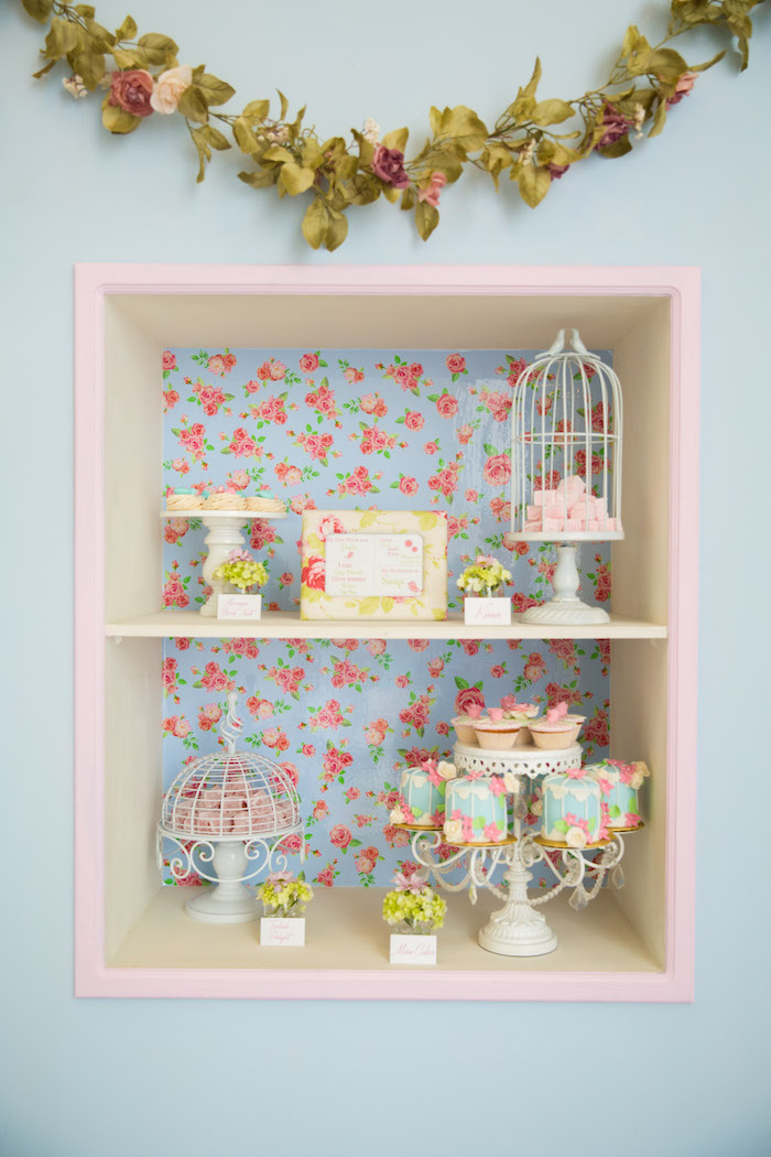 Sweet display from a Shabby Chic Little Bird Birthday Party on Kara's Party Ideas | KarasPartyIdeas.com (7)