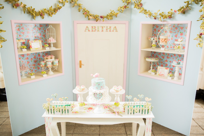 Party setup from a Shabby Chic Little Bird Birthday Party on Kara's Party Ideas | KarasPartyIdeas.com (6)
