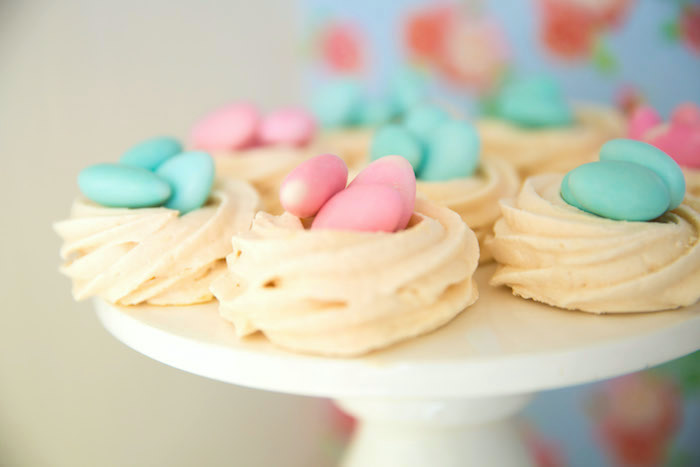 Meringue bird nests from a Shabby Chic Little Bird Birthday Party on Kara's Party Ideas | KarasPartyIdeas.com (35)