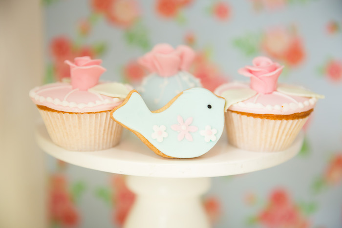 Cupcakes + bird cookie from a Shabby Chic Little Bird Birthday Party on Kara's Party Ideas | KarasPartyIdeas.com (34)