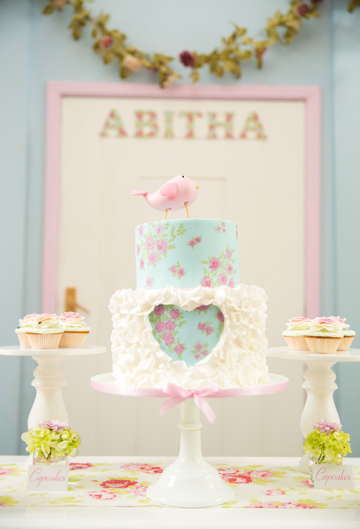 Shabby chic floral heart cake from a from a Shabby Chic Little Bird Birthday Party on Kara's Party Ideas | KarasPartyIdeas.com (33)