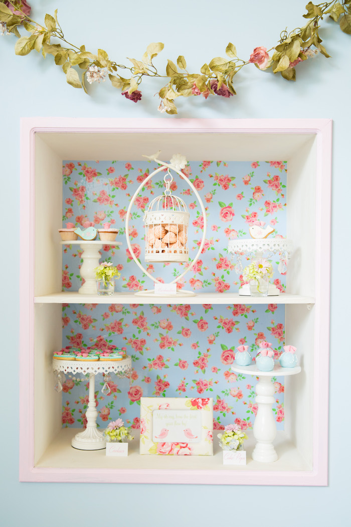 Sweet display from a Shabby Chic Little Bird Birthday Party on Kara's Party Ideas | KarasPartyIdeas.com (32)