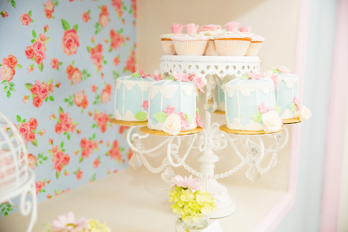 Mini cakes & cupcakes from a Shabby Chic Little Bird Birthday Party on Kara's Party Ideas | KarasPartyIdeas.com (31)