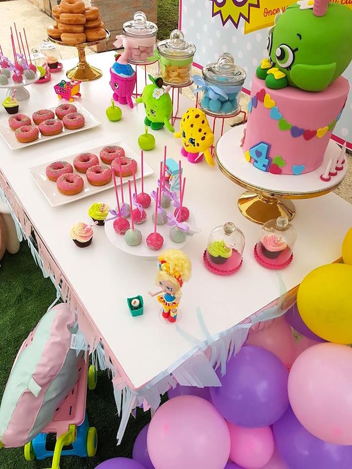 Party table spread from a Shopkins Birthday Party via Kara's Party Ideas | KarasPartyIdeas.com (6)