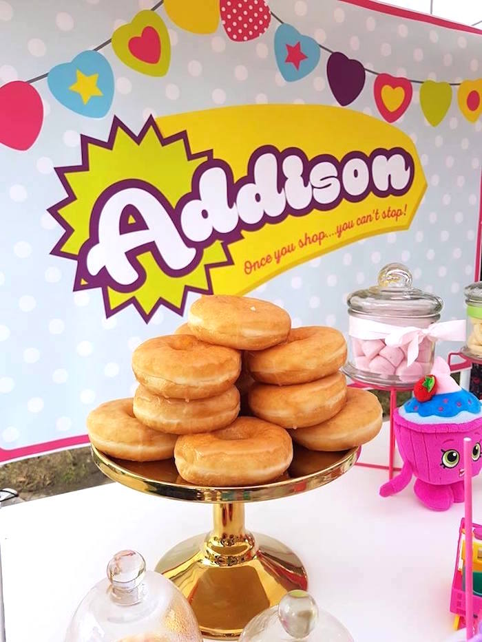 Stacked doughnuts from a Shopkins Birthday Party via Kara's Party Ideas | KarasPartyIdeas.com (23)