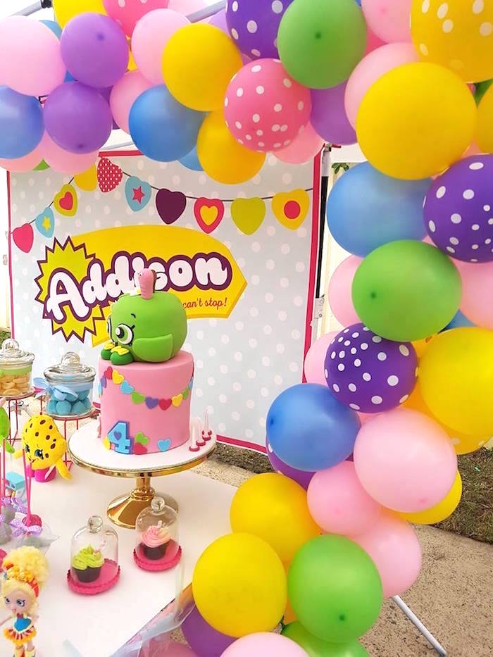 Balloon arch from a Shopkins Birthday Party via Kara's Party Ideas | KarasPartyIdeas.com (22)