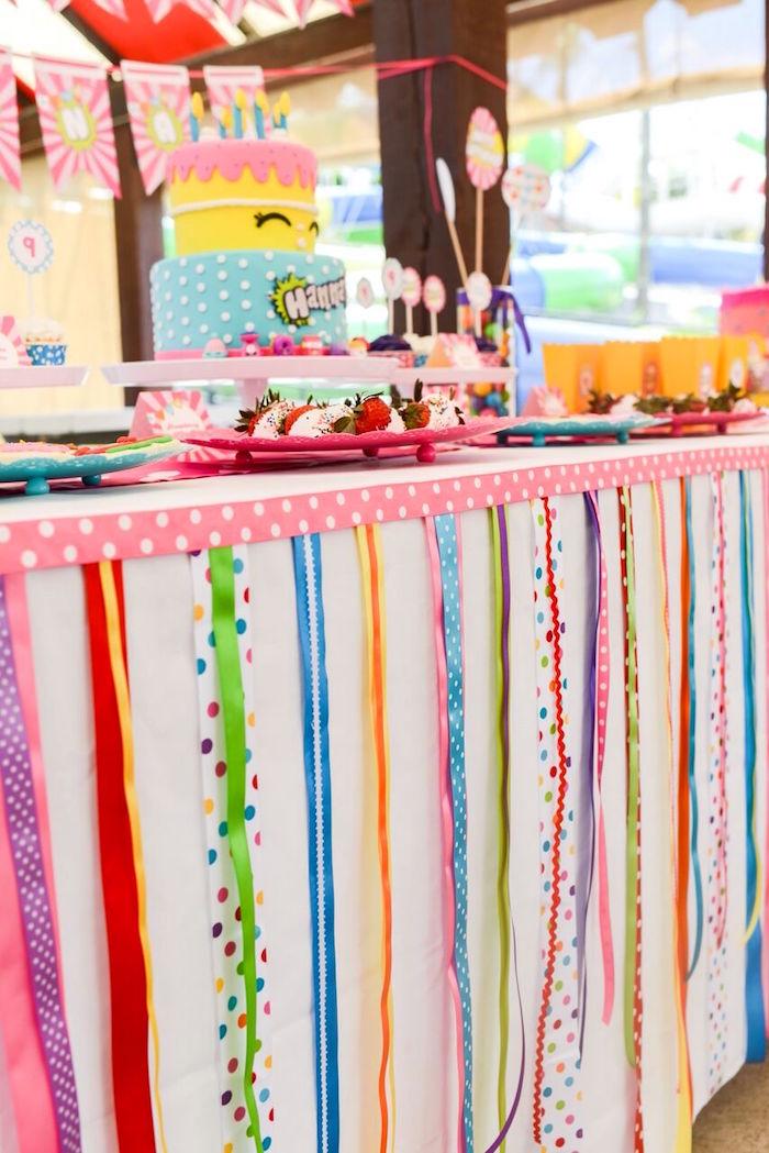 Ribbon bunting from a Shopkins Birthday Party via Kara's Party Ideas   KarasPartyIdeas.com (9)
