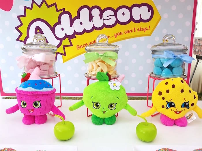 Plush Shopkins + candy jars from a Shopkins Birthday Party via Kara's Party Ideas | KarasPartyIdeas.com (20)