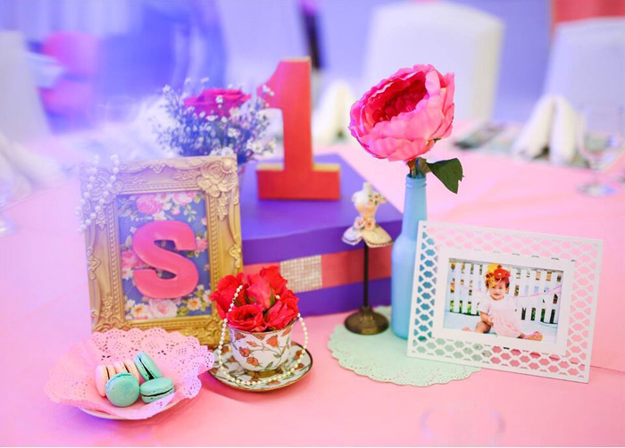Table centerpieces from a Sweet Victorian Tea Party on Kara's Party Ideas | KarasPartyIdeas.com (13)