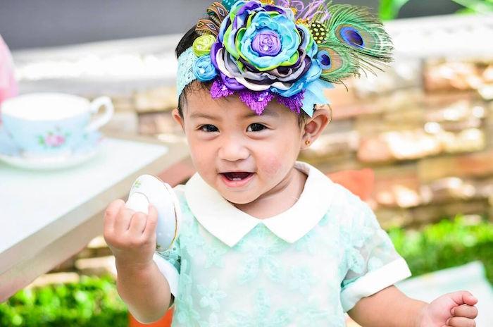 Adorable peacock feather headband + birthday girl from a Sweet Victorian Tea Party on Kara's Party Ideas | KarasPartyIdeas.com (27)
