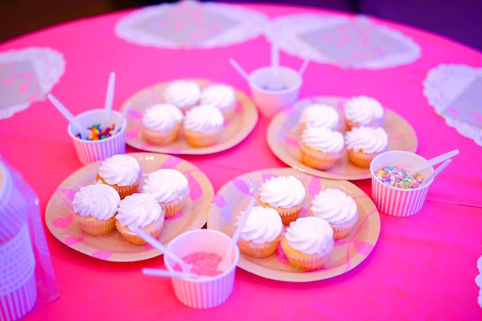 Cupcake decorating station from a Sweet Victorian Tea Party on Kara's Party Ideas | KarasPartyIdeas.com (5)