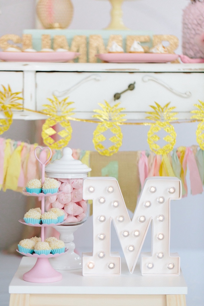 Cupcakes + white marquee light from a Tropical Flamingo Party on Kara's Party Ideas | KarasPartyIdeas.com (4)