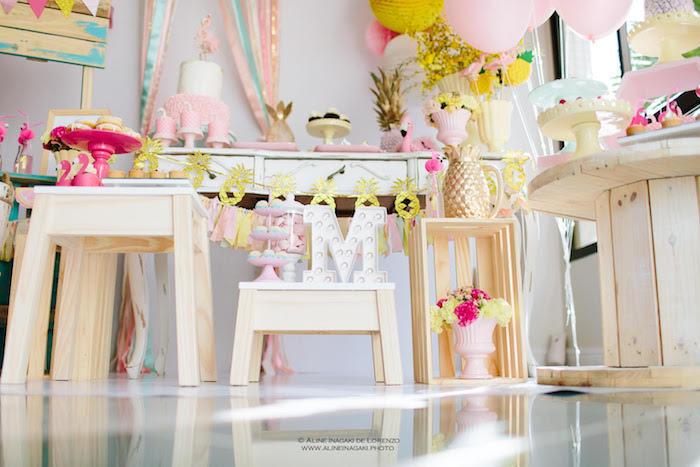 Decor from a Tropical Flamingo Party on Kara's Party Ideas | KarasPartyIdeas.com