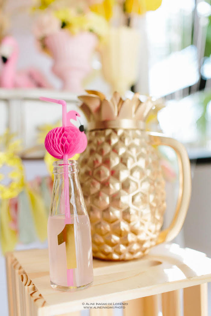 Pineapple drink pitcher from a Tropical Flamingo Party on Kara's Party Ideas | KarasPartyIdeas.com