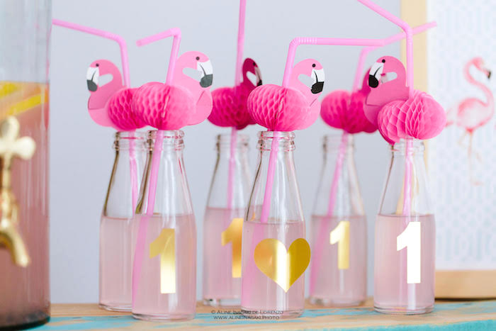 Flamingo drink bottles from a Tropical Flamingo Party on Kara's Party Ideas | KarasPartyIdeas.com
