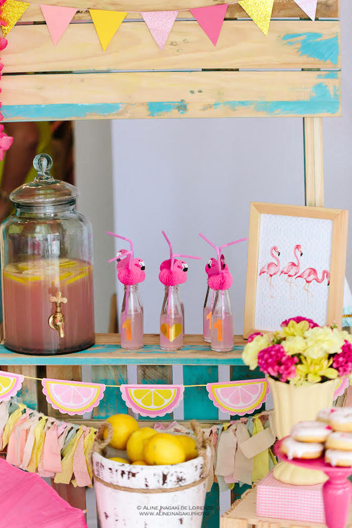 Drink stand from a Tropical Flamingo Party on Kara's Party Ideas | KarasPartyIdeas.com
