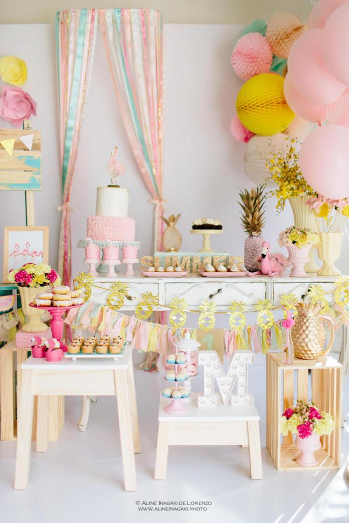 Tropical Flamingo Party on Kara's Party Ideas | KarasPartyIdeas.com