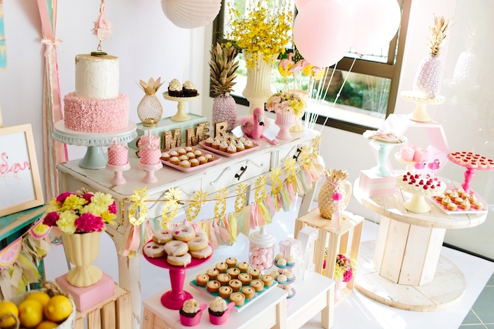 Sweet table + partyscape from a Tropical Flamingo Party on Kara's Party Ideas | KarasPartyIdeas.com (10)