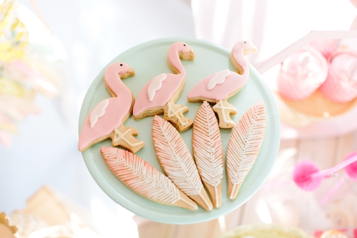 Flamingo & feather cookies from a Tropical Flamingo Party on Kara's Party Ideas | KarasPartyIdeas.com (8)