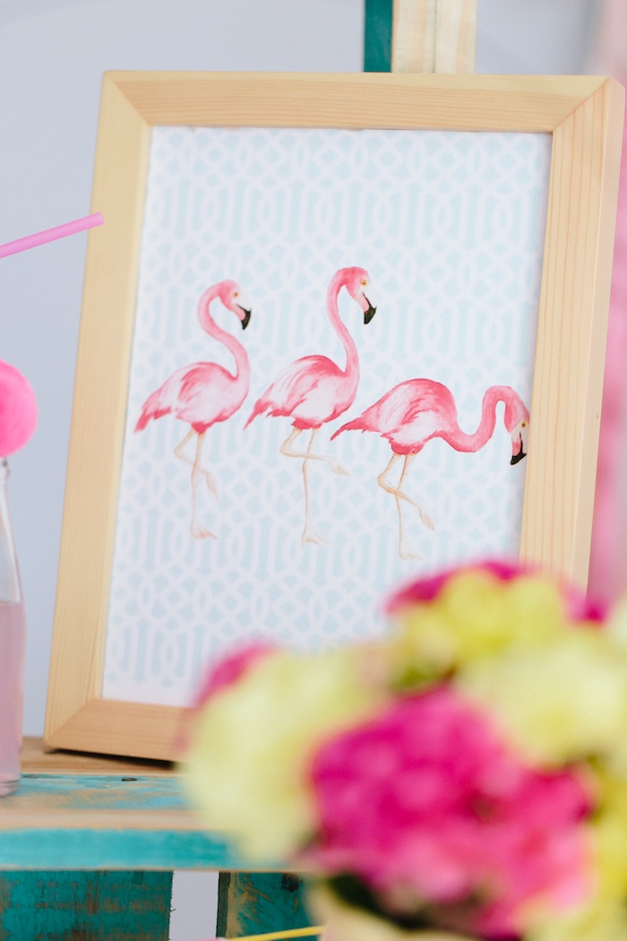 Pink flamingo print from a Tropical Flamingo Party on Kara's Party Ideas | KarasPartyIdeas.com (6)