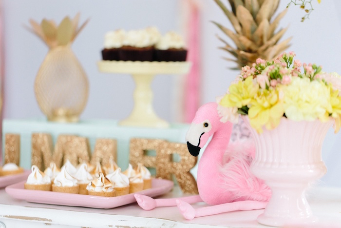 Sweets + decor from a Tropical Flamingo Party on Kara's Party Ideas | KarasPartyIdeas.com (5)
