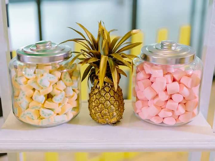 Karas Party Ideas Candy Jars From A Tropical Flamingo