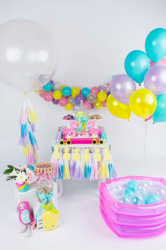 Pool Party Ideas flamingo pool party via karas party ideas karaspartyideascom summerparty Party Setup From A Tropical Pool Party For Puppies On Karas Party Ideas Karaspartyideas
