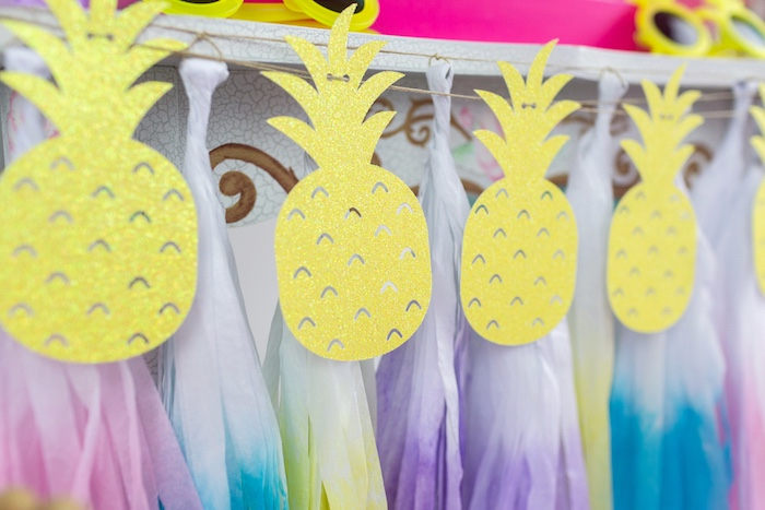 Pineapple + tassel garland from a Tropical Pool Party for Puppies on Kara's Party Ideas | KarasPartyIdeas.com (28)