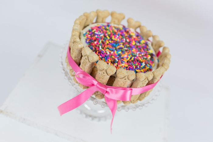 Dog bone sprinkle cake from a Tropical Pool Party for Puppies on Kara's Party Ideas | KarasPartyIdeas.com (12)