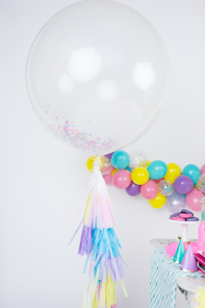 Jumbo confetti balloon with tassel streamer from a Tropical Pool Party for Puppies on Kara's Party Ideas | KarasPartyIdeas.com (33)