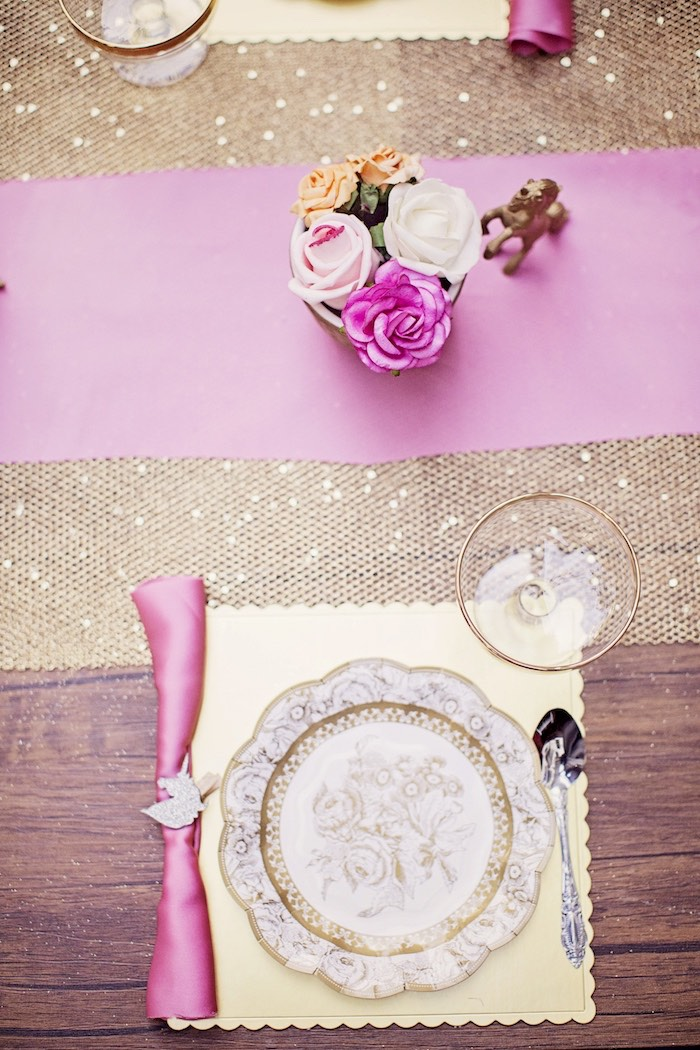 Elegant pink + gold place setting from a Place setting from a Unicorn Birthday Party via Kara's Party Ideas | KarasPartyIdeas.com (24)