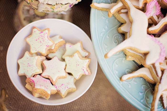 Star-shaped sugar cookies from a Unicorn Birthday Party via Kara's Party Ideas | KarasPartyIdeas.com (22)