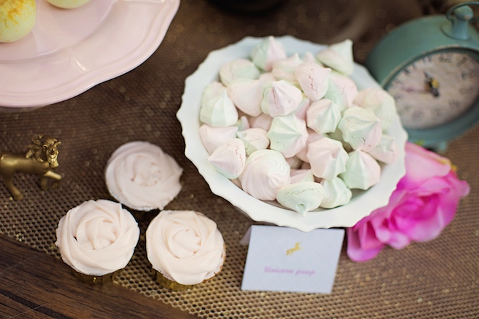 Light green and pink meringues from a Unicorn Birthday Party via Kara's Party Ideas | KarasPartyIdeas.com (20)