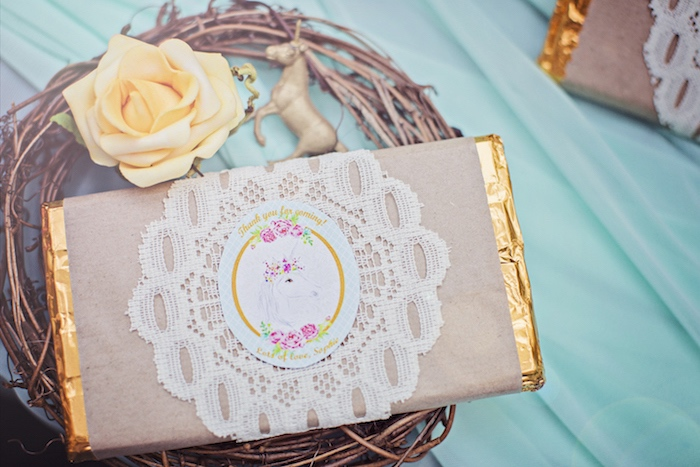 Chocolate bar adorned in lace from a Unicorn Birthday Party via Kara's Party Ideas | KarasPartyIdeas.com (17)