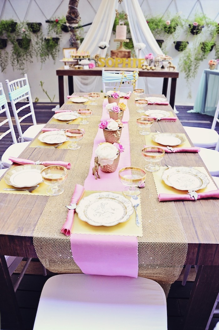 Pink + gold party tablescape from a Unicorn Birthday Party via Kara's Party Ideas | KarasPartyIdeas.com (15)