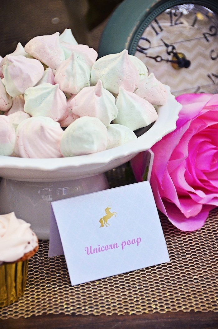 Meringues aka Unicorn Poop from a Unicorn Birthday Party via Kara's Party Ideas | KarasPartyIdeas.com (9)