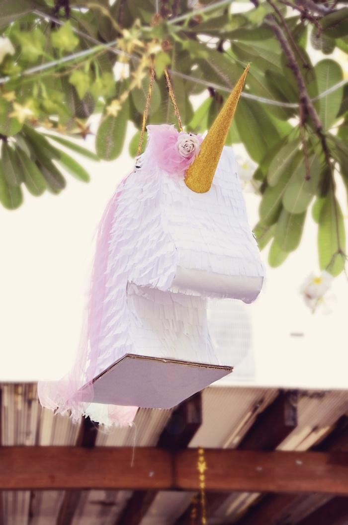 Unicorn piñata from a Unicorn Birthday Party via Kara's Party Ideas | KarasPartyIdeas.com (6)