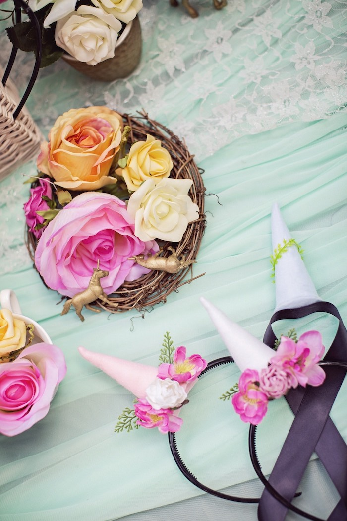 Florals and lace from a Unicorn Birthday Party via Kara's Party Ideas   KarasPartyIdeas.com (33)