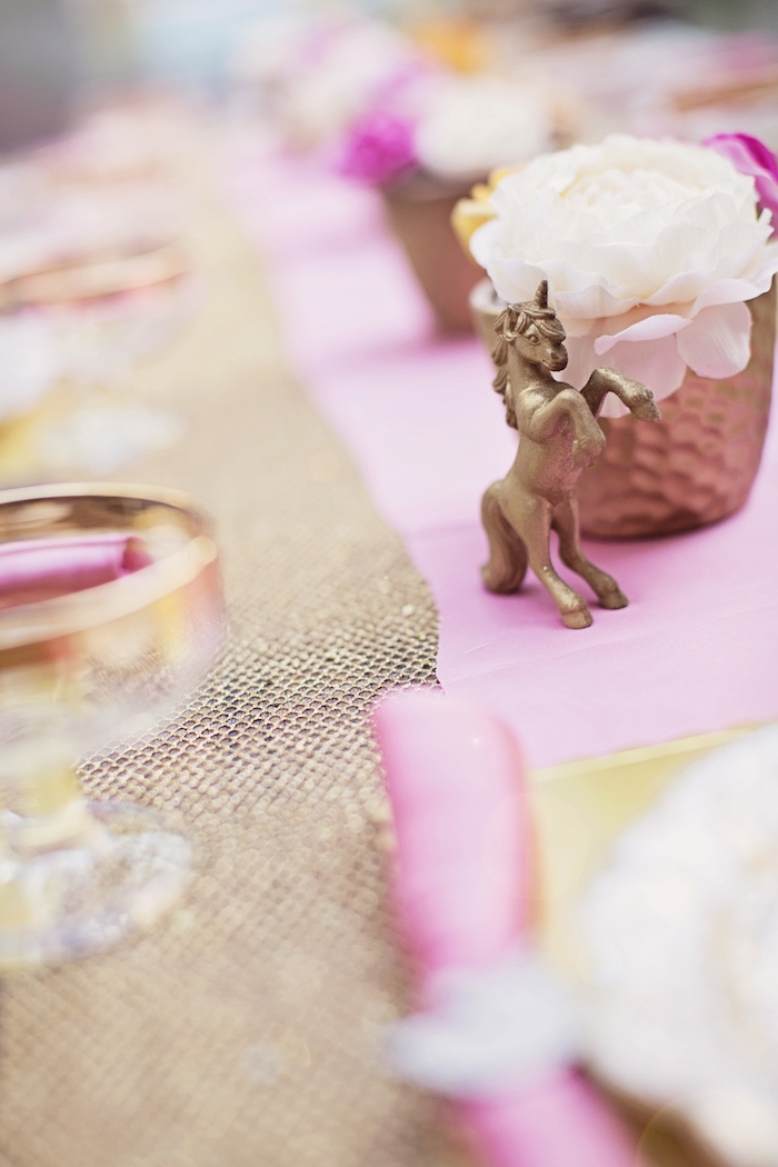 Gold unicorn decoration from a Unicorn Birthday Party via Kara's Party Ideas | KarasPartyIdeas.com (32)