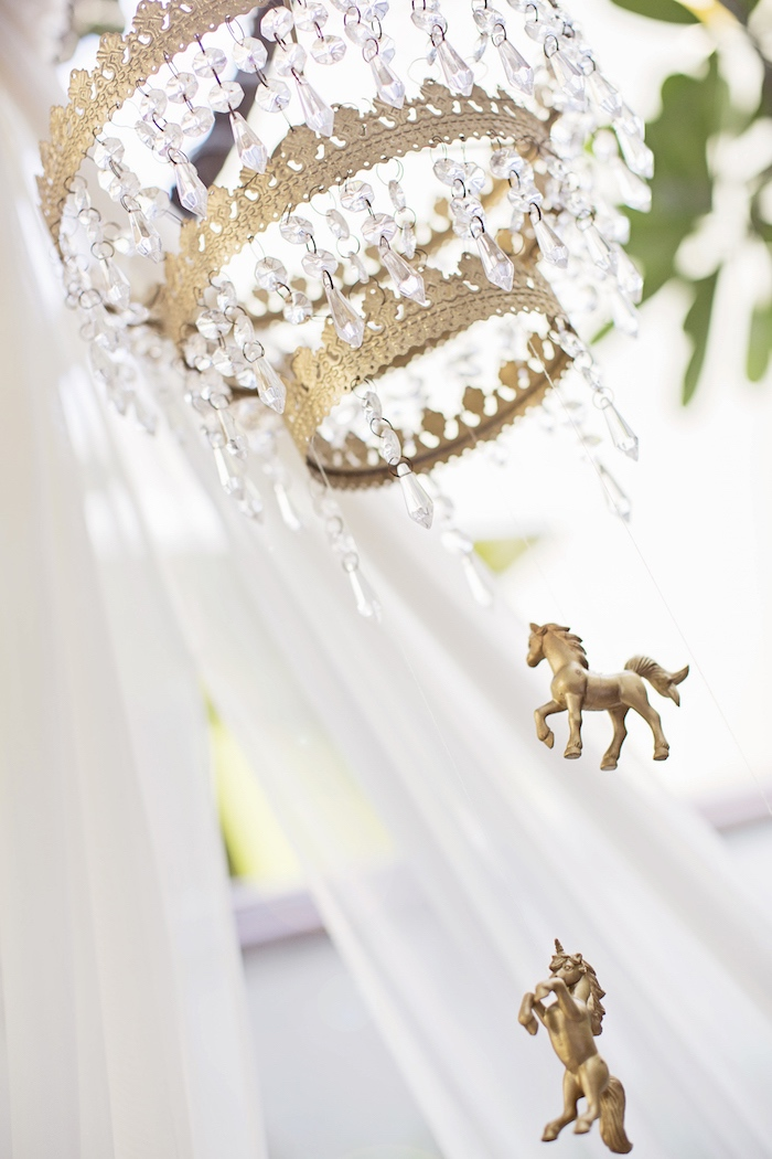 Jeweled chandelier from a Unicorn Birthday Party via Kara's Party Ideas | KarasPartyIdeas.com (31)