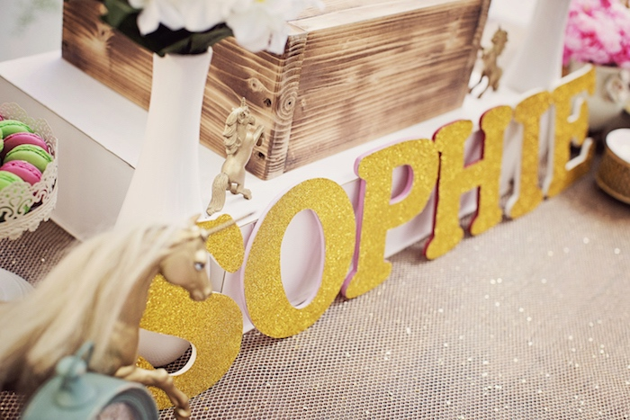 Gold glitter letters from a Unicorn Birthday Party via Kara's Party Ideas | KarasPartyIdeas.com (30)
