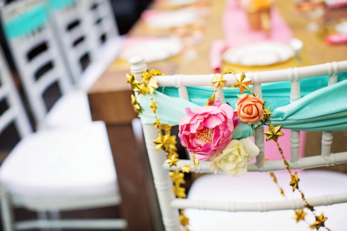 Floral chair tie + gold star bunting from a Unicorn Birthday Party via Kara's Party Ideas | KarasPartyIdeas.com (29)