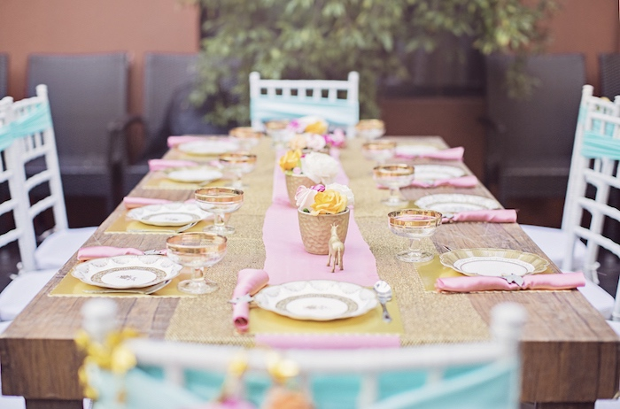 Dining tablescape from a Unicorn Birthday Party via Kara's Party Ideas | KarasPartyIdeas.com (28)