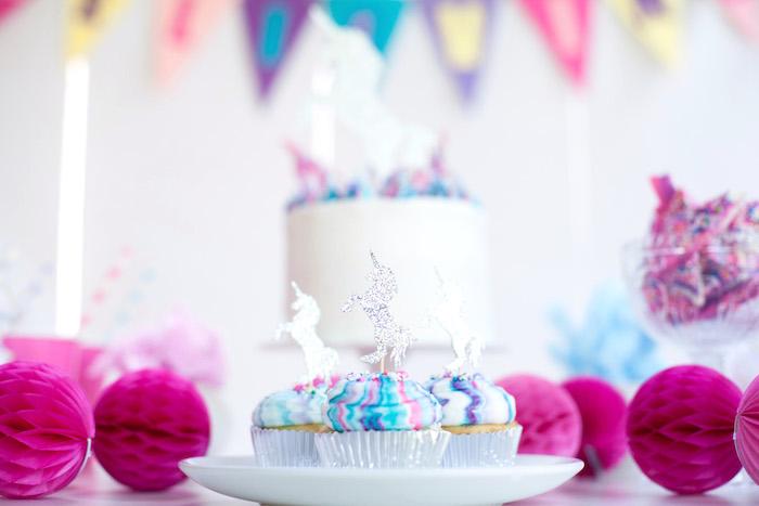 Unicorn cupcakes from a Vibrant Unicorn Party on Kara's Party Ideas | KarasPartyIdeas.com (6)