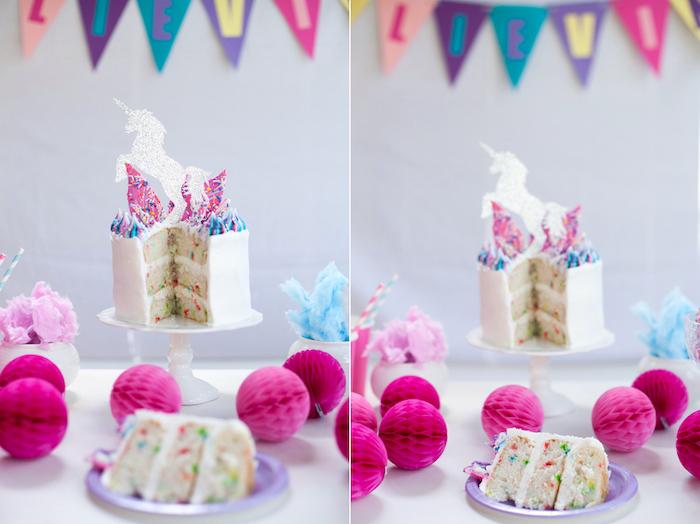 Sliced cake from a Vibrant Unicorn Party on Kara's Party Ideas | KarasPartyIdeas.com (3)