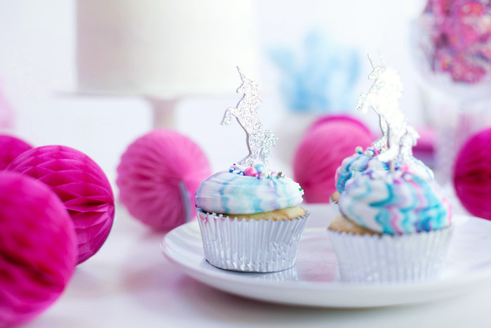 Unicorn cupcakes from a Vibrant Unicorn Party on Kara's Party Ideas | KarasPartyIdeas.com (11)